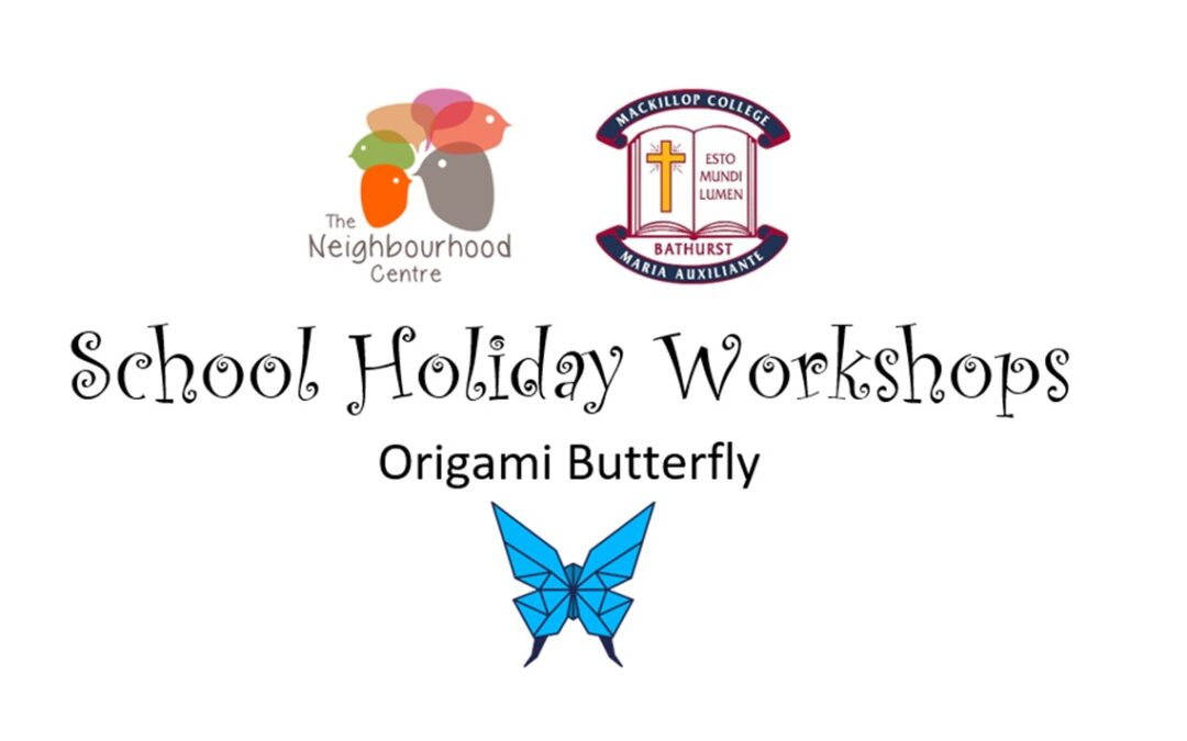 School Holiday Workshop – Origami Butterfly by S. Short (Ages 5 *with help* -16 years old)